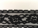 Black Floral Poly lace Scalloped Lace Trim  1.5 Inch