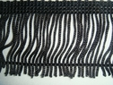 black fringe 2 inch long trim Double looped