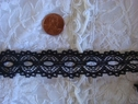 Black Insert Double Scalloped  Lace Trim By Yard or Roll