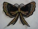Black organza bow butterfly 3 D 2 pieces attached