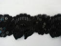 Black stretch lace trim with  flat black  1 1/2 W
