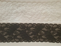 Black/ Stretch Leave Design Double Scalloped Lace Trim 2.25 In S 6-6