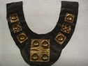 Brown and Gold Faux Leather Medal Golden Beads Applique.