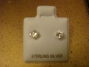 Clear round stud earring sterling silver 4mm