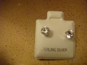 Clear round stud earring sterling silver 5mm