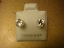 Clear round stud earring sterling silver 6mm