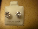 Clear round stud earring sterling silver 7mm