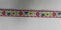 Daisy Yellow Red Lime leave Black Flower on White Jacquard Ribbon Trim 3/8