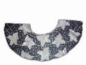 Embroidered Gray Lavender Applique with Faux Leather Floral Neckline Netting