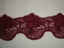 Embroidered  Scalloped Burgundy Floral Tulle Lace Trim 1 7/8 inch