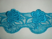 Embroidered Turquoise Floral Tulle Lace Trim 1 7/8 in.
