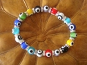 Evil eyes stretch sterling silver cz bracelet colorful