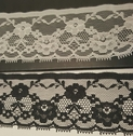 Eyelash Poly Lace White Black Floral Trim 2 In