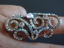 fashion silver tone stretch ring clear rhinestone free shipping