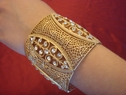 gold tone high fashion bracelet with cz wide streshable free shipping