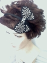 Headband with Ribbon and Jewelry Black ribbion and band with Silver Jewelry