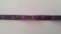 Jacquard Midnight Blue With Purple Fower and Olive leaves 1/2 inch