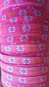 Jacquard ribbon fuchsia pink and orange daisy flower ribbon 1/2  inch