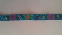 Jacquard Turquoise Fuchsia with Mustard Daisy Flower Ribbon 1/2