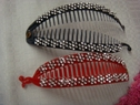 Lot 2 red dark navy rhinestone plastic banana hair clip