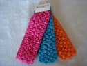 lot 3 pcs orange pink blue braided lace ribbon headband