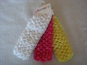 lot 3 pcs yellow pink white braided lace ribbon headband
