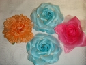 Lot 4 artificial flower blue,orange,pink brooche pin