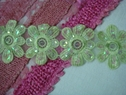 Lot 4 Pcs Lime Organza Embroidered Flower Trim 2 1/2 W