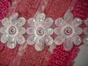 Lot 4 Pcs Off White Organza Embroidered Flower Trim 2 1/2 W