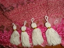 Lot 8 Mini Decorative White and Gold Thread Tassel 2 W