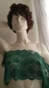 Emerald or , taupe Double Scalloped Floral wide Lace Trim 8 inch S 4-1