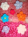 mixed lot 14 pcs crochet flower applique 6 colors