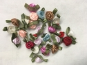 Mixed lot 50 Red Peach Blue Brown Mauve White Satin Ribbon Rose Flower 3/4