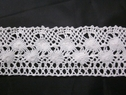 off white  crochet clunny lace cotton double scalloped lace trim 2 1/8 inch wide.