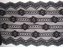 One yard black stretch strip scalloped wide  lace trim 5 3/4W S-7-2