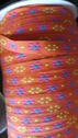 Orange Jacquard Ribbon with Yellow and Fuchsia Daisy FlowerTrim 1/2 inch