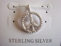 Peace sign sterling silver clear CZ pendant