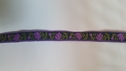 Purple flower Sage Leave On Navy Jacquard Ribbon Trim 3/8 Inches