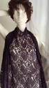 Purple Stretch Embossed Floral Floral lace Fabric 58 inch