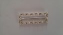 Rectangle silver buckle slider with pearl and Rhinestone