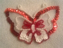Red and white butterfly Iron on  beaded applique