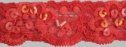 Red stretch lace trim w/ sequins and clear bugle 1 1/4 W