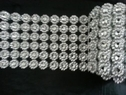 Roll 10 yards Silver mesh flower acrylic rhinestone look  6 row