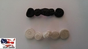 Set of 12 off white or black small Chinese closure button 2 1/4  or  2 inch