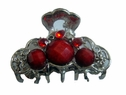Silver Hair Clip Red Rhinestone