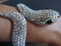 Fashion SilverTone Clear Rhinestone Bangle Bracelet Lizard Great gift
