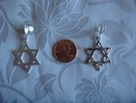 Sterling silver star of david jewish star pendant shiny 7/8  wide