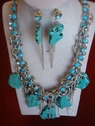 turquoise necklace and earing with silver tone chain and fringe