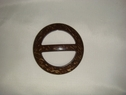 Two Tone Brown Beige Wooden Belt Buckle Slider 2 1/2 x 2 1/2