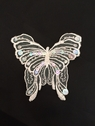 White Beaded Butterfly Organza Applique Embroidered Sequis